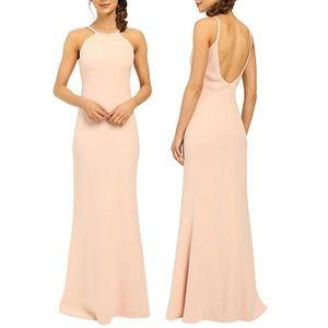 Calvin Klein Halter Neck Back Less Gown